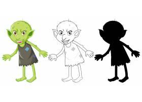 白色背景的卡通人物的彩色和剪影中的妖精或_9135843