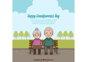 祖父母日背景和一对夫妇在公园里_1189312