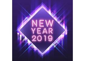 紫色方形霓虹灯招牌中的2019年粉色新年_3527665