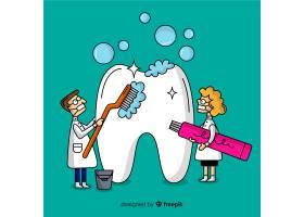牙医清洁大牙卡通背景_4172479