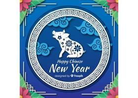 猪的剪影中国新年背景_3640346
