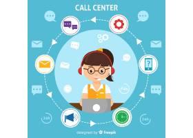 现代呼叫中心平面设计背景_3217948