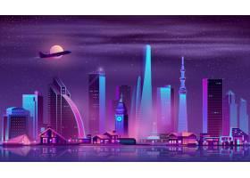 现代都市夜景卡通矢量背景_4016189