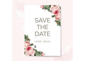 用玫瑰花矢量装饰的婚礼邀请卡_3593325
