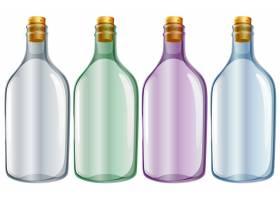白色背景上的四个玻璃瓶的插图_1109738