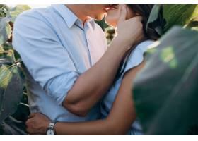 快乐的男人和孕妇温柔地站在田野上拥抱在一_3339403