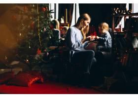 母亲和女儿在圣诞树旁_3655484