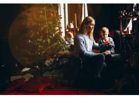 母亲和女儿在圣诞树旁_3655485