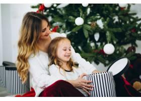 母亲和女儿在圣诞树旁_3389581