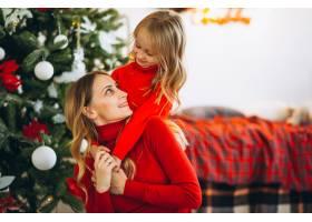 母亲和女儿在圣诞树旁_3389595