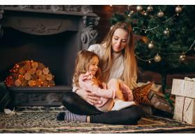 母亲和女儿在圣诞树旁_3654281