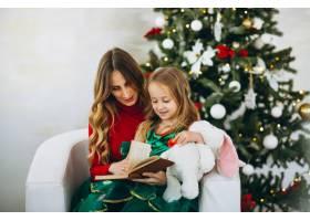 母亲和女儿在圣诞树旁看书_3389567