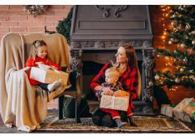 在圣诞树旁带着孩子的母亲_3654247