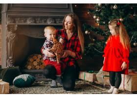 在圣诞树旁带着孩子的母亲_3654262