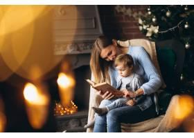 母亲带着女儿坐在圣诞树旁的椅子上_3655254