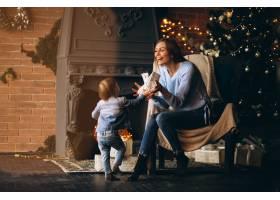 母亲带着女儿坐在圣诞树旁的椅子上_3655260
