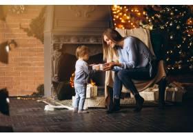 母亲带着女儿坐在圣诞树旁的椅子上_3655467