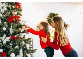 母亲带着女儿装饰圣诞树_3389592