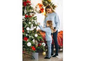 母亲带着女儿装饰圣诞树_3389602