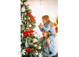 母亲带着女儿装饰圣诞树_3389604