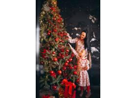 母亲带着女儿装饰圣诞树_3654130