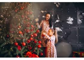 母亲带着女儿装饰圣诞树_3654132