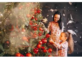 母亲带着女儿装饰圣诞树_3654133