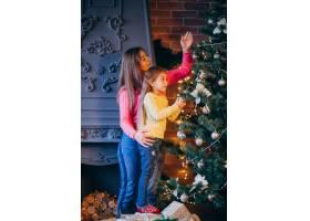 母亲带着女儿装饰圣诞树_3654202