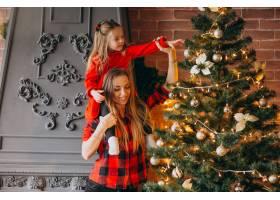 母亲带着女儿装饰圣诞树_3654256