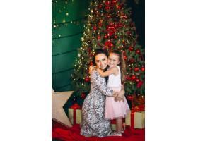 母亲带着她的小女儿在圣诞树旁_3654148
