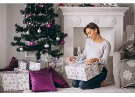 拿着大件圣诞礼物的女人_3654172