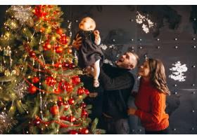 家人在圣诞节装饰圣诞树_3655327