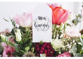 母亲节背景鲜花上贴标签_1936339