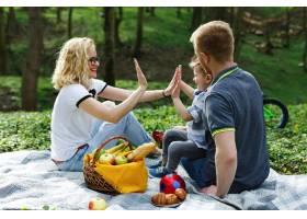 年轻的金发妈妈和她的儿子在公园野餐时玩耍_2438054
