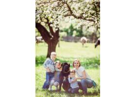 坐在草地上的母亲孩子和狗_2916334