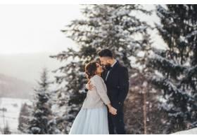 留着胡须的男子和他可爱的新娘在神奇的冬季_2437585