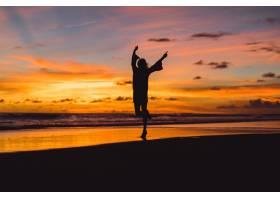 日落时海滩上的人们那个女孩在落日的背景_3064213