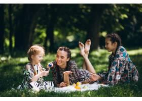 带水果和泡泡的家庭野餐_2553376