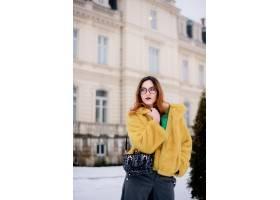 在一个阳光明媚的冬日一个穿着花哨黄色毛_2447272