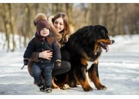 一名女子拥抱小男孩抚摸伯恩斯山狗在公园_2437546