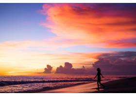 日落时海滩上的人们_2440500