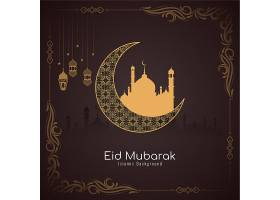 带相框和新月的开斋节伊斯兰名片_13509158