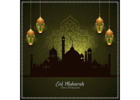 印有金色灯笼的开斋节穆巴拉克清真寺卡片_13509160