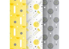 黄色和灰色几何图案集_11852367