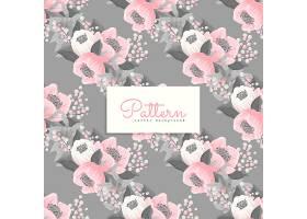 粉色和灰色花的无缝图案_12733392
