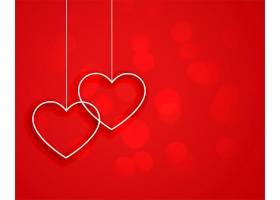 红色背景上挂心形的极简风格_12438299