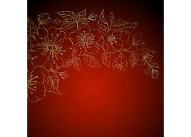 红色背景上的金色樱花_1435287