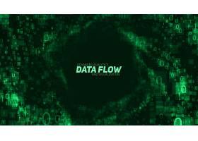 矢量抽象大数据可视化绿色发光数据以二进_11029323