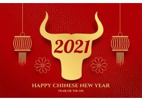 祝牛红贺卡中国新年快乐_12071102