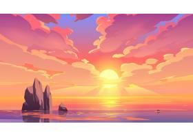 海洋中的日落或日出自然景观_6362773